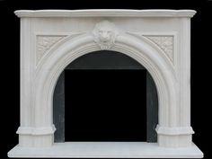 Arched Lion Fireplace Mantel Limestone Ak goods akgoods http://akgoods.com/shop/fireplaces-mantels/all-fireplace-mantels/