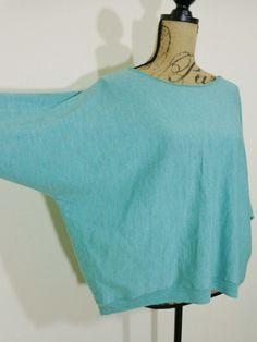 Eileen Fisher lagenlook top artsy art to wear aqua upscale Italian yarn sz S #EileenFisher #BoatNeck
