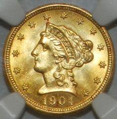 1904 $2.50 Liberty Gold Quarter Eagle MS-63 NGC $615.00 Free Shipping