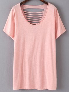 Shop Pink Short Sleeve Ripped Hole Casual T-shirt online. SheIn offers Pink Short Sleeve Ripped Hole Casual T-shirt & more to fit your fashionable needs.