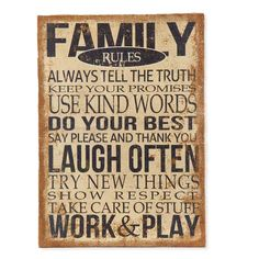 Family Rules Burlap Sign