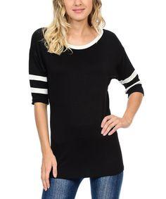 Look at this #zulilyfind! Black & White Stripe-Sleeve Scoop Neck Tee #zulilyfinds