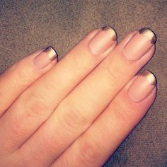 """0hh-mylove: """" golden French. Sally Hansen- Complete Salon Manicure in Café au Lait (nude) and Gilty Pleasure (gold) with Sephora matte top coat. """" I think French manicures are outdated, but I..."""
