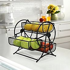 An adorable addition to your kitchen, the Ferris Wheel Rotating Fruit Basket has 3 wire frame baskets that hold your favorite fruit in chic fashion. The rotating piece is a fun and whimsical. Can also be used to hold utensils on a buffet table.