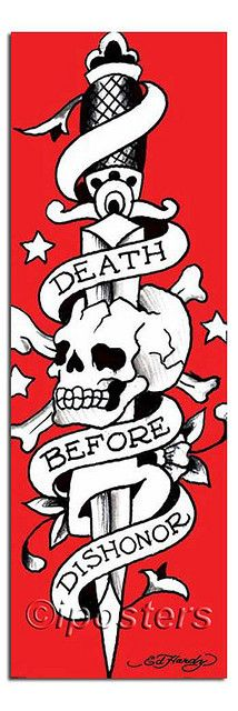 Don Ed Hardy Death Before Dishonor Tattoo Door Poster