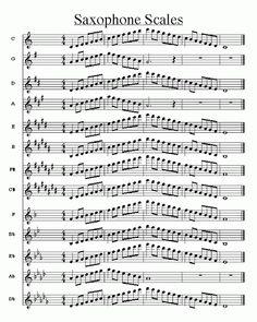Partitura de todas las escalas para saxofón (Ejercicios para saxofón)