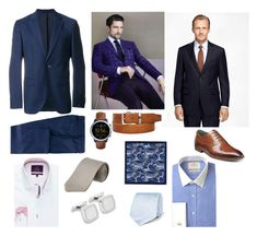 """Suit up"" by kate-suttie on Polyvore featuring Hermès, Brooks Brothers, Tom Ford, BOSS Hugo Boss, FOSSIL, Stacy Adams, Ted Baker, men's fashion and menswear"