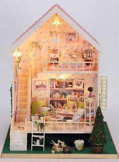 3D DIY LED Light Dollhouse Miniature Sweet thought & wish  Deluxe model Kit