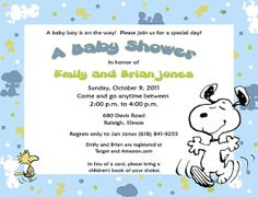 Beautiful Baby Snoopy Baby Shower Invitations Http://www.etsy.com/listing