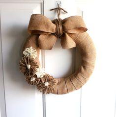 Everyday Wreath - Burlap Wreath - Rustic Wreath - 12 Inch Burlap Wreath with Jute/Yarn Flowers - Outdoor Wreath.