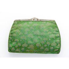 8/29/15 Purse of the Day: 1930s embroidered green satin clutch with a bejeweled frame, pink satin lining and vanity compartments, by MM.