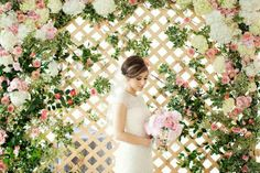 beautiful backdrop of flowers on lattice!