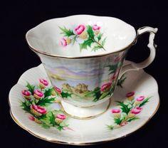Vintage Royal Albert England Bone China Tea Cup Saucer Antique Glass Road Isles