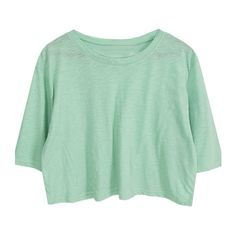 Cropped T-shirt ($41) ❤ liked on Polyvore featuring tops, t-shirts, cotton crop top, green top, crop t shirt, cotton tee and green tee