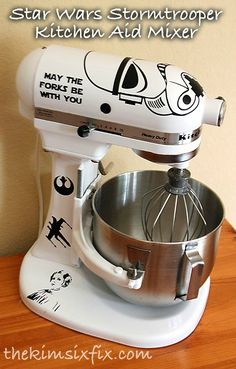 Star Wars Stormtrooper Kitchen Aid Mixer Haha This is funny :) I'm not a star wars geek, actually, I don't Think I've ever seen star wars... BUT I still get it and think it's cute. Maybe I should go watch Star Wars.