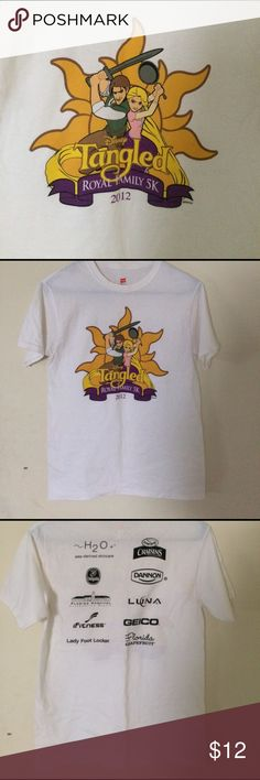 Just InDisney Tangled cotton Tee Disneys Tangled Logo for 5k run in FL 100% cotton Haines t shirt crew neck short sleeves new but washed did not wear , size S/CH/P is women's -fits Small Hanes Tops Tees - Short Sleeve