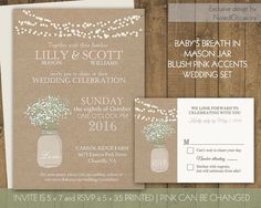 Mason Jar Wedding Invitation - Rustic Mason Jar Country Wedding Invitations Baby's Breath Blush Pink lights burlap Digital Printable Files by NotedOccasions