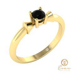 Inel de logodna din aur cu diamant negru ES26
