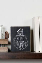 Home Is Where Your Mom Is Damask Small Plaque