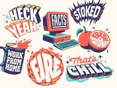Facebook — Typographic Stickers! by Scott Biersack Typography Drawing, Typography Letters, Typographie Inspiration, Branding Design, Logo Design, Lettering Design, Design Art, Creative Lettering, Creative Logo