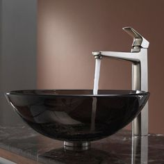 Kraus C-GV-103-12mm-15500 Clear Brown Glass Vessel Sink and Virtus Faucet - C-GV-103-12MM-15500