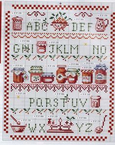 Cuisine Cross Stitch Quotes, Cross Stitch Letters, Cross Stitch Boards, Cross Stitch Love, Cross Stitch Samplers, Cross Stitch Designs, Cross Stitching, Cross Stitch Embroidery, Stitch Patterns