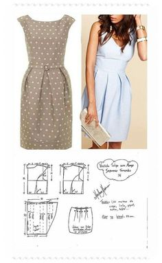 The best DIY projects & DIY ideas and tutorials: sewing, paper craft, DIY. DIY Women's Clothing : molde vestido manga japonesa y falda tulipán -Read Plain dress with pleated waistline, pattern. DIY your photo charms, compatible with Pandora bracelets. Fashion Sewing, Diy Fashion, Ideias Fashion, Moda Fashion, Fashion Details, Dress Sewing Patterns, Clothing Patterns, Sewing Patterns Free, Free Pattern