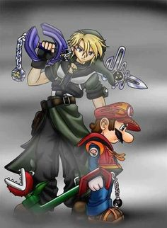 Mario and Link, keyblade wielders - The Legend of Zelda, Super Mario and Kingdom Hearts crossover. Super Smash Bros, Super Mario Bros, Kingdom Hearts Crossover, Kingdom Hearts 3, Star Citizen, Video Game Art, Video Games, Game Character, Character Design