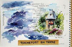 BB-Aquarelle: Orage et Rochefort en Terre / Black sky and Rochef...