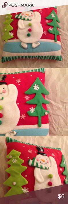"Snowman Pillow Cute snowman pillow. Around 12"" by 12"". Other"