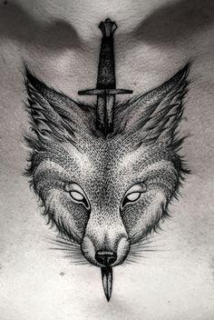 dot work tattoo, wolf, knife, Kamil Czapiga http://kamilczapiga.blogspot.com.au/p/tattoo-2014.html