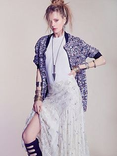 Free People Long Printed Bomber Jacket
