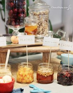 Need a new idea for summertime entertaining? Try a self-serve ice cream bar with gourmet toppings! You just need tasty toppings and containers to set it up. Gourmet Ice Cream, Sundae Bar, Everyday Dishes, Icecream Bar, Ice Cream Party, Food Presentation, Tasty, Party Ideas, Food Bars