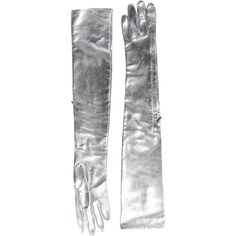 MAISON MARTIN MARGIELA silver gloves with zippers