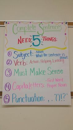What does a sentence need to make it  complete! 5 easy steps to help students remember and so your not reminding them every 5 seconds!