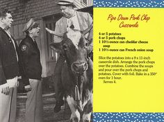 Mayberry Pipe Down Pork Chop Casserole Recipe Postcard ~Jolly Ollie 😊 Retro Recipes, Old Recipes, Cookbook Recipes, Vintage Recipes, Recipies, Family Recipes, Pork Chop Casserole, Casserole Dishes, Casserole Recipes