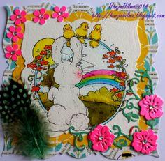 Pitkästä aikaa Magnolian leimoilla leimailin ja maskailin. Kuvan väritin DI-täytepulloilla, vedellä ja siveltimellä. Jälleen melko räikeät v...
