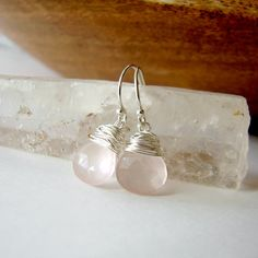 Rose Quartz Silver Wire Wrapped Earrings. Pale by OneLoomStudio