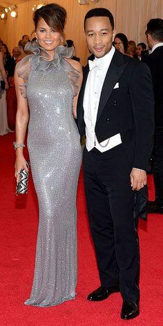 CHRISSY TEIGEN IN RALPH LAUREN COLLECTION AND JOHN LEGEND - Met Gala 2014 : People.com