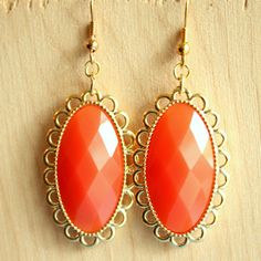 Coral Orange Earrings - Coral and Gold Drop Earrings - Oval Acrylic Gems - Gold Plated Earrings