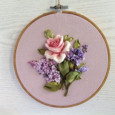 Pink rose and lilac embroidery hoop art,hand dyed silk ribbons framed picture,cottage decor, birthday present – Birthday Presents Ribbon Embroidery Tutorial, Hand Embroidery Flowers, Silk Ribbon Embroidery, Embroidery Hoop Art, Embroidery Stitches, Embroidery Patterns, Embroidery Books, Embroidery Bracelets, Embroidery Techniques