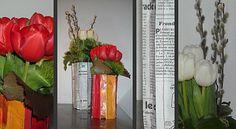 vases avec des journaux ou des magazines