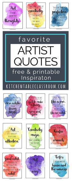 Famous Artist Quotes -Art Quotes to Inspire Creativity Let these free, printable quotes inspire you to be an artist or at least think like an artist. Quotes by your favorite famous artists are easy to print and display in a classroom or office space. Arts And Crafts For Teens, Art And Craft Videos, Art For Kids, Famous Artist Quotes, Famous Artists, Quotes By Artists, Art Room Posters, Art Classroom Posters, Art Classroom Decor