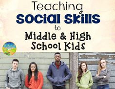 Social Skills for Middle and High School Kids Simple strategies and tips for social skills instruction for teens at the middle and high school level. The post Social Skills for Middle and High School Kids appeared first on School Ideas. Social Skills Lessons, Social Skills Activities, Teaching Social Skills, Activities For Teens, Counseling Activities, Social Emotional Learning, Life Skills, Counseling Quotes, Learning Activities
