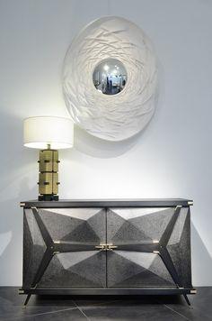Commode-acier-et-lampe-Michael-Pohu-+-miroir-ovale-Farfelus-Farfadets-