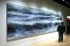 """""""Open Water"""" ( are ArtPrize) New York City based artist and surfer Ran Ortner created this 19 ft long oil painting of water as a way to capture the wonder and vulnerability he experienced when out in the open water. Street Art, Realistic Paintings, Amazing Paintings, Amazing Artwork, Foto Art, Ocean Waves, Installation Art, Landscape Paintings, Sea Paintings"""