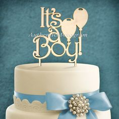 "Check out Wooden Unpainted Cake Topper ""It's a Boy"", Baby Decor Monogram, Initial, Celebration, Anniversary, Special Occasion, Nursery Decor 4119 on monogramcustomart"