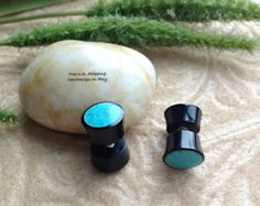 "Fake Gauge Earrings, ""Day and Night"" Horn Plugs with Crushed Blue Stone Inlay, Naturally Organic, Hand Carved, Tribal"