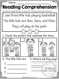 Kindergarten Reading Comprehension Worksheets Free Kindergarten Reading Prehension Set 2 Reading Comprehension Worksheets, Reading Fluency, Reading Passages, Reading Skills, Comprehension Strategies, Reading Response, Free Kindergarten Worksheets, Kindergarten Reading, Reading Activities