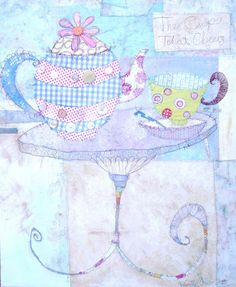 Heart Handmade UK: TIme For Tea | British Mixed Media Artist Priscilla Jones --   I adore her work and wish I could see it in the US.